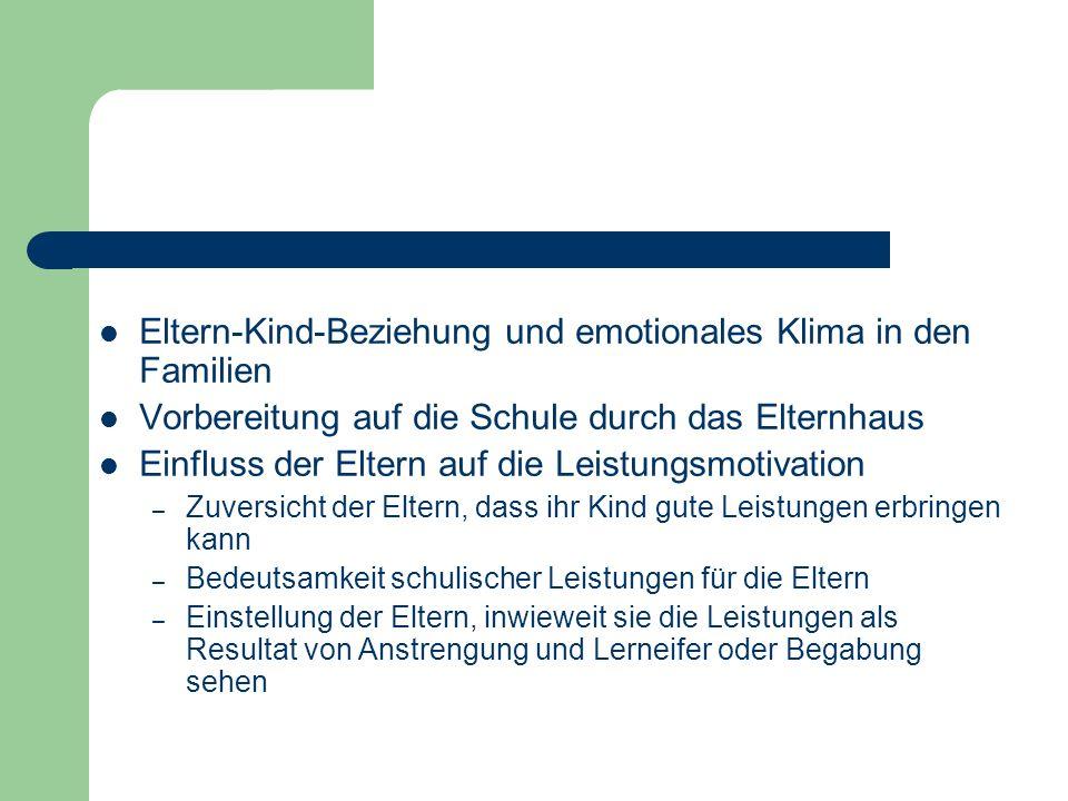 Eltern-Kind-Beziehung und emotionales Klima in den Familien