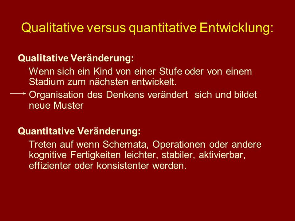 Qualitative versus quantitative Entwicklung: