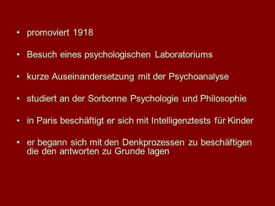 promoviert 1918 Besuch eines psychologischen Laboratoriums. kurze Auseinandersetzung mit der Psychoanalyse.