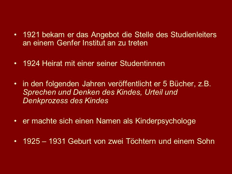 1921 bekam er das Angebot die Stelle des Studienleiters an einem Genfer Institut an zu treten
