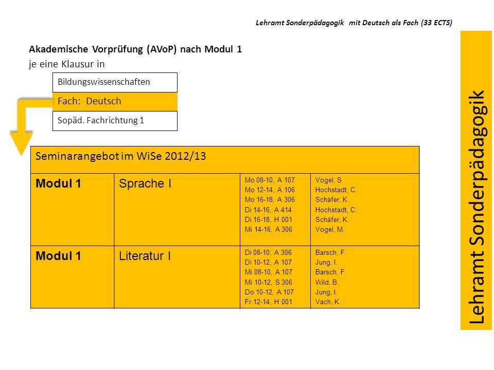 Lehramt Sonderpädagogik mit Deutsch als Fach (33 ECTS)