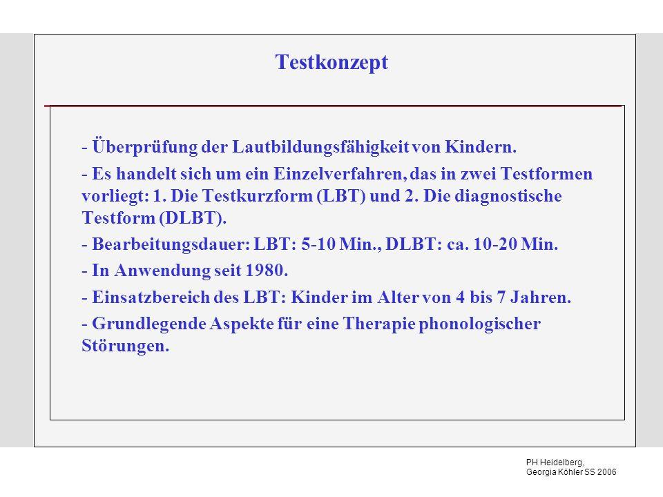Testkonzept - Überprüfung der Lautbildungsfähigkeit von Kindern.