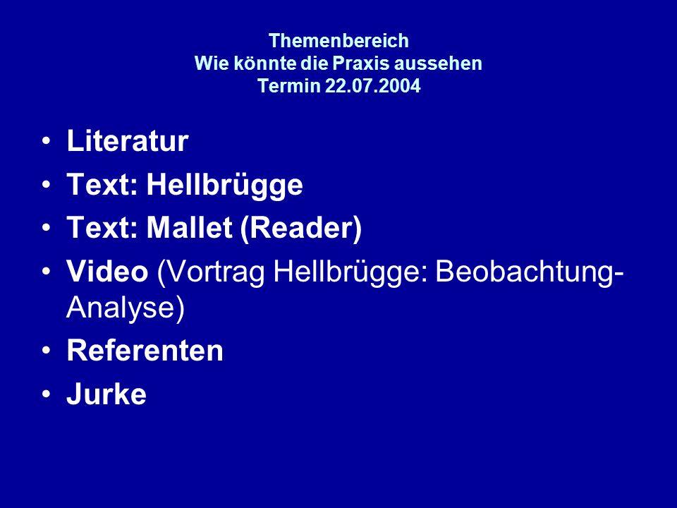 Themenbereich Wie könnte die Praxis aussehen Termin 22.07.2004
