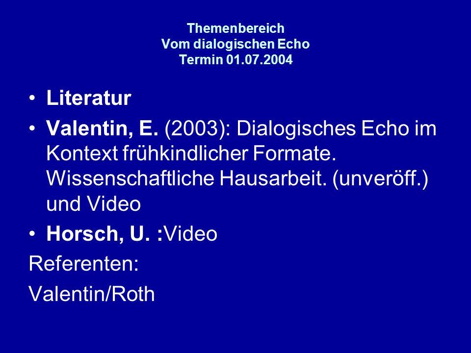 Themenbereich Vom dialogischen Echo Termin 01.07.2004