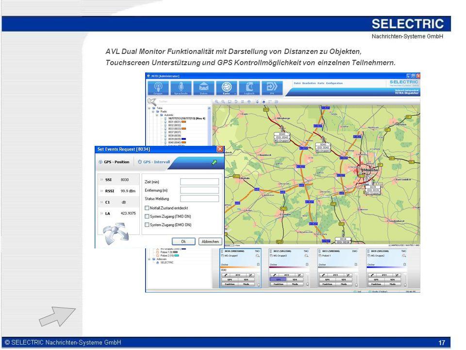 AVL Dual Monitor Funktionalität mit Darstellung von Distanzen zu Objekten,