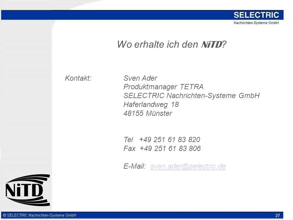 Wo erhalte ich den NiTD Kontakt: Sven Ader Produktmanager TETRA
