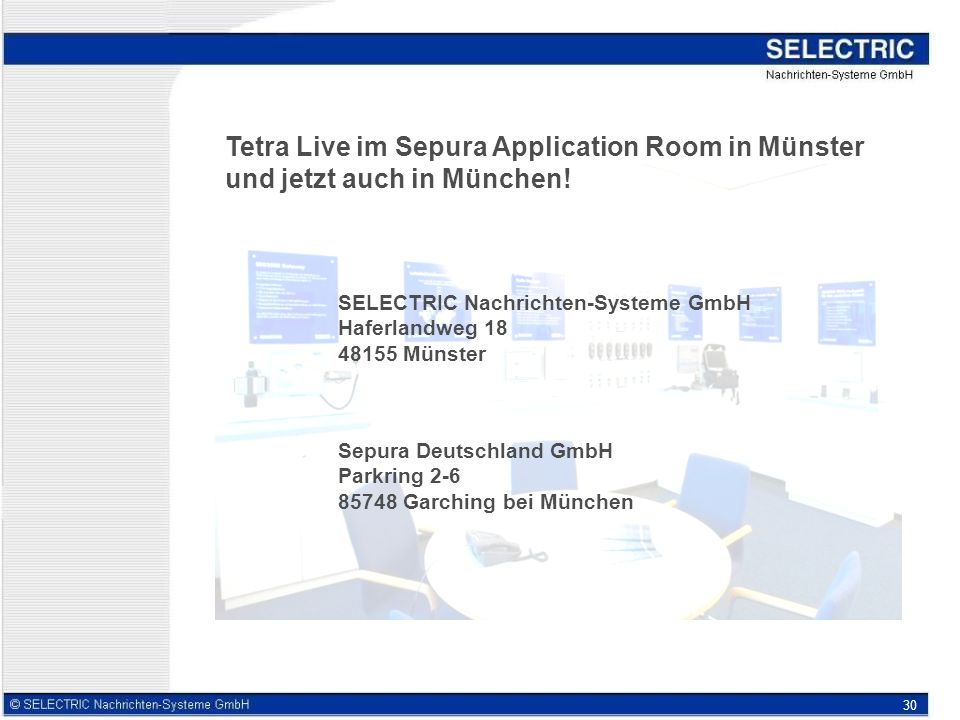 Tetra Live im Sepura Application Room in Münster