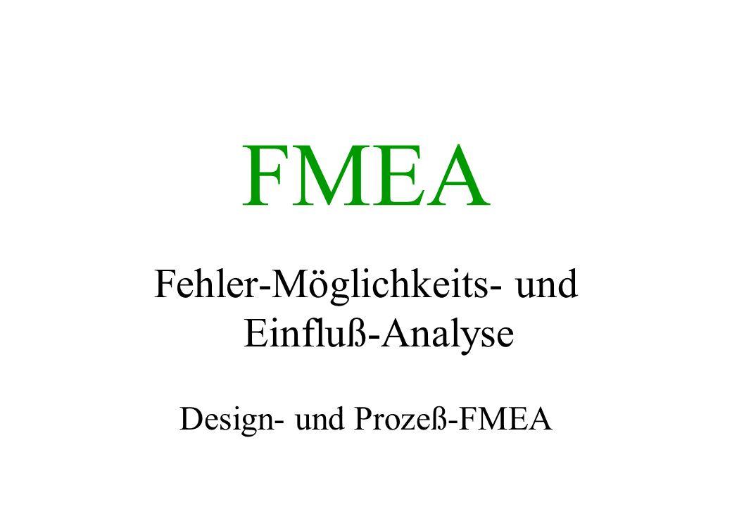 FMEA Fehler-Möglichkeits- und Einfluß-Analyse Design- und Prozeß-FMEA