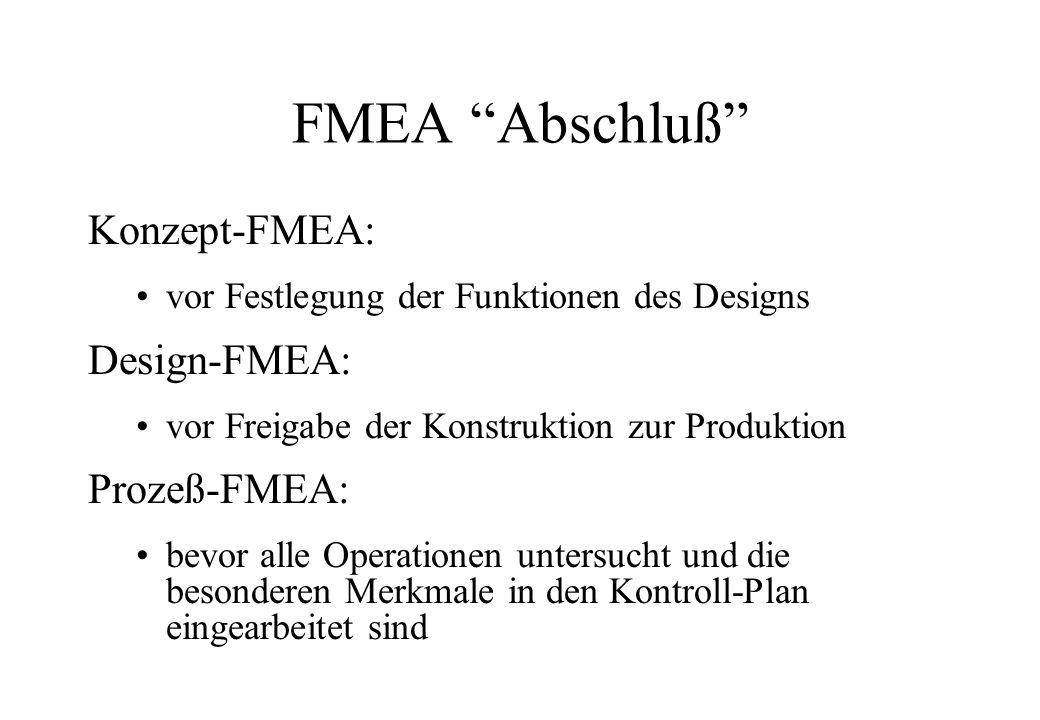 FMEA Abschluß Konzept-FMEA: Design-FMEA: Prozeß-FMEA: