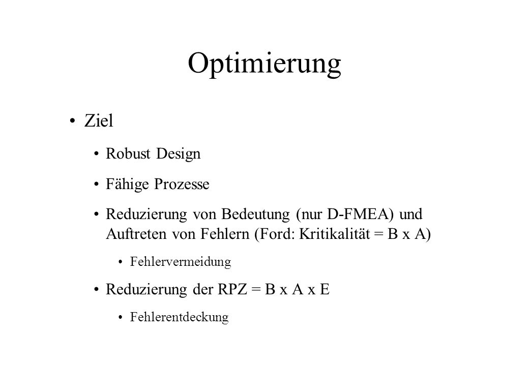 Optimierung Ziel Robust Design Fähige Prozesse