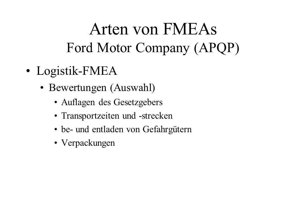 Arten von FMEAs Ford Motor Company (APQP)