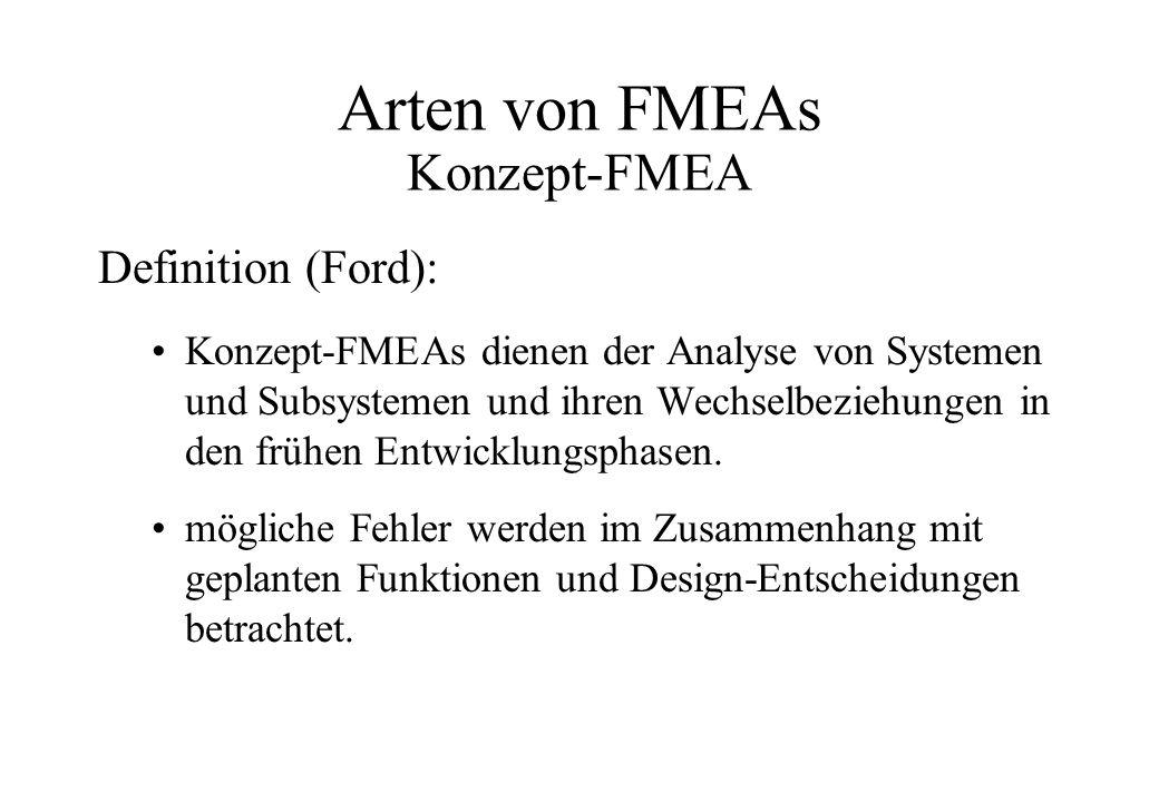 Arten von FMEAs Konzept-FMEA