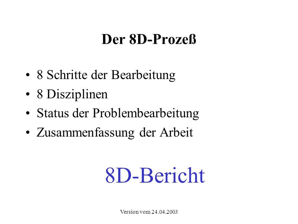 8D-Bericht Der 8D-Prozeß 8 Schritte der Bearbeitung 8 Disziplinen