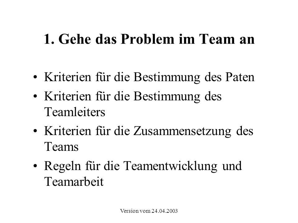1. Gehe das Problem im Team an
