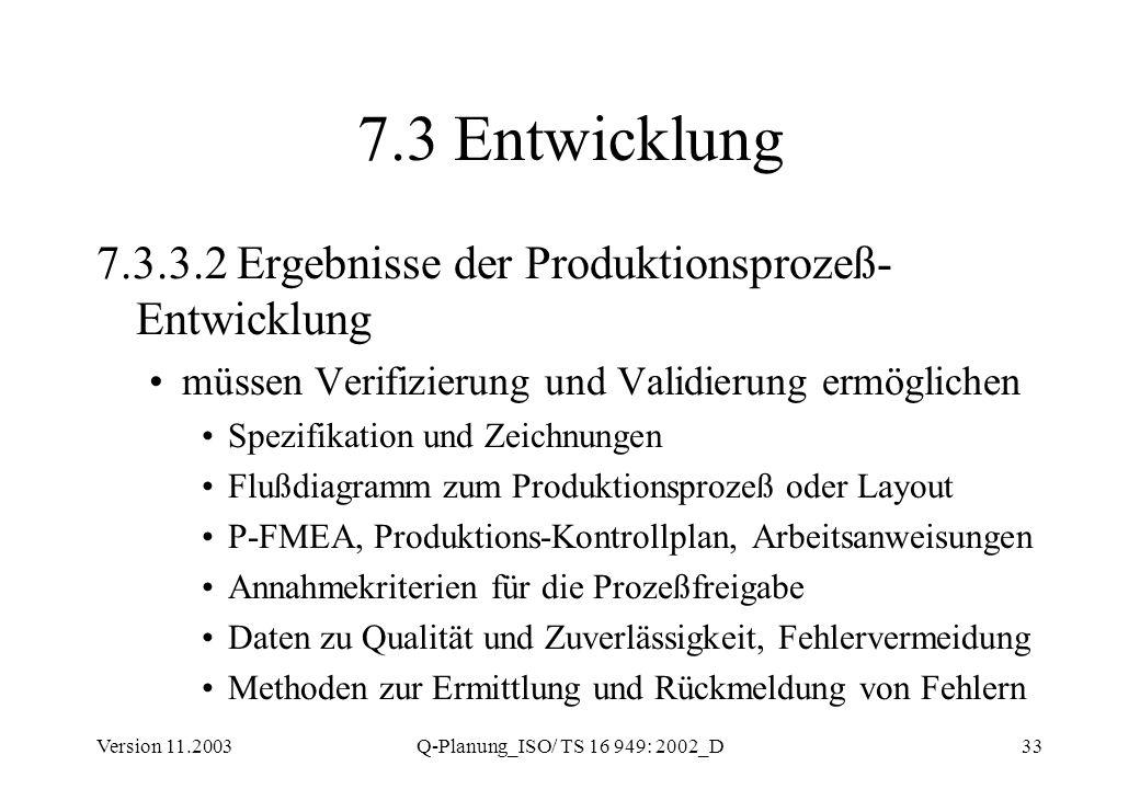 7.3 Entwicklung 7.3.3.2 Ergebnisse der Produktionsprozeß-Entwicklung