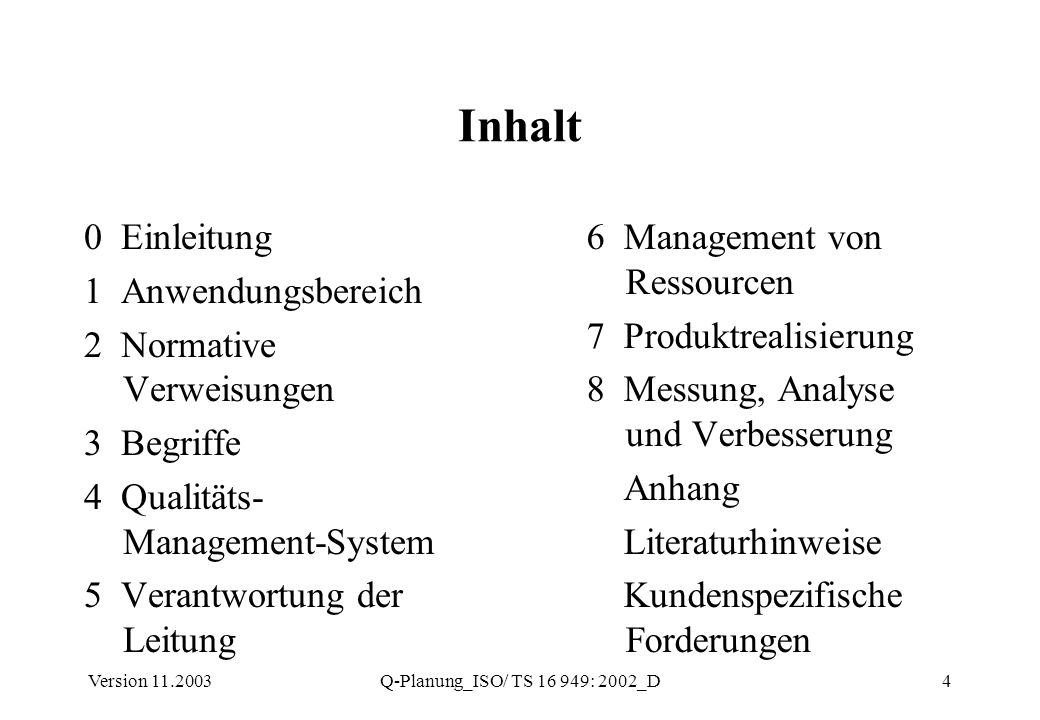 Inhalt 0 Einleitung 1 Anwendungsbereich 2 Normative Verweisungen