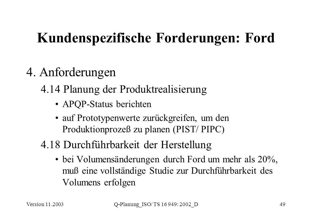 Kundenspezifische Forderungen: Ford