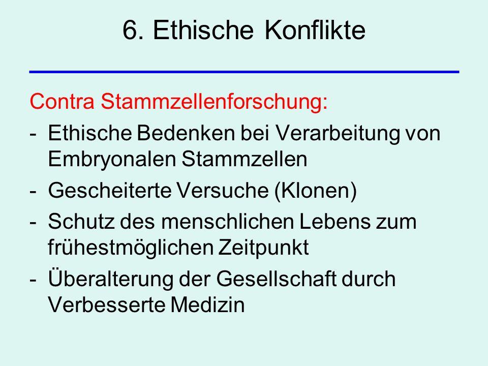 6. Ethische Konflikte Contra Stammzellenforschung: