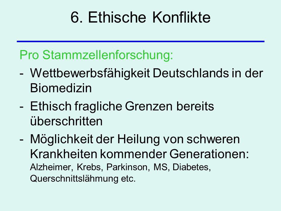 6. Ethische Konflikte Pro Stammzellenforschung: