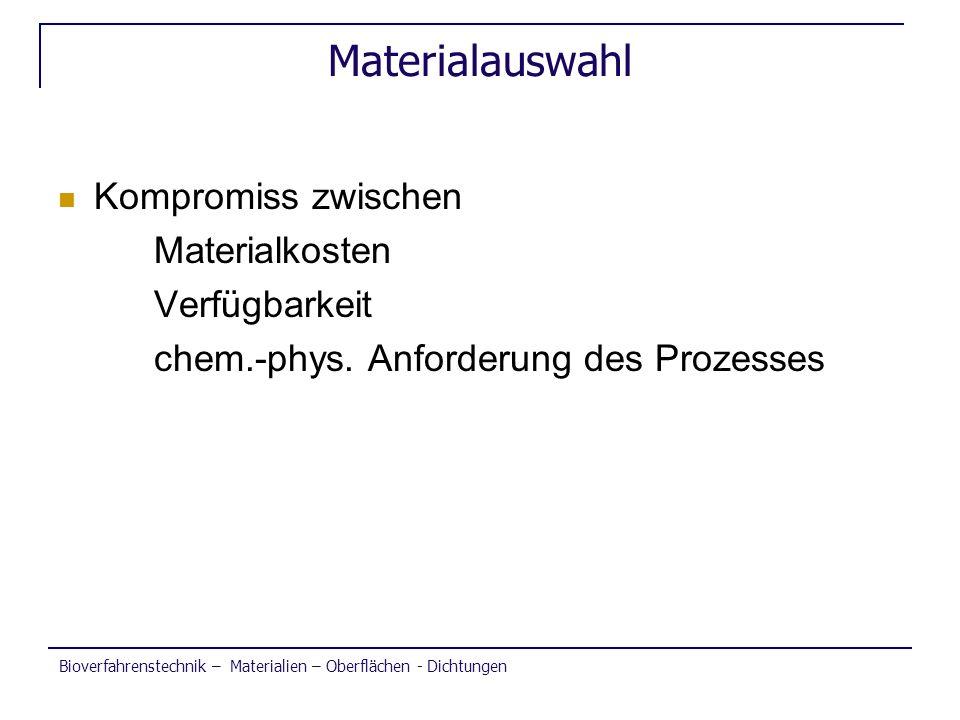 Materialauswahl Kompromiss zwischen Materialkosten Verfügbarkeit