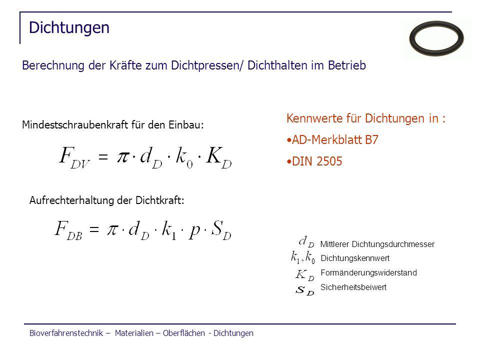 Dichtungen Berechnung der Kräfte zum Dichtpressen/ Dichthalten im Betrieb. Kennwerte für Dichtungen in :