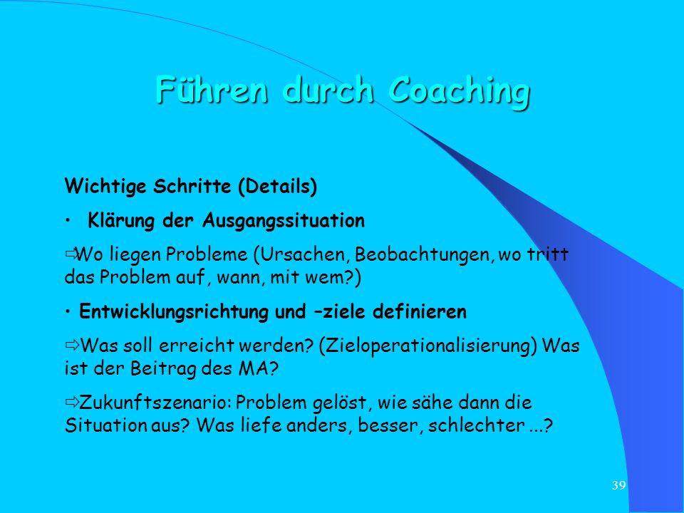 Führen durch Coaching Wichtige Schritte (Details)