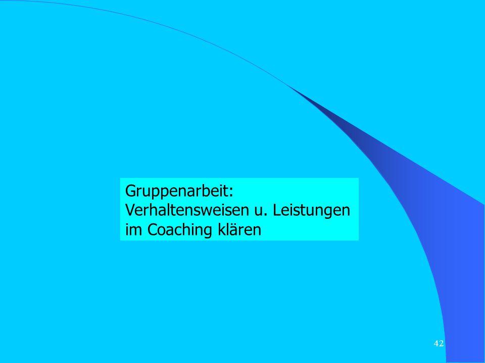 Gruppenarbeit: Verhaltensweisen u. Leistungen im Coaching klären