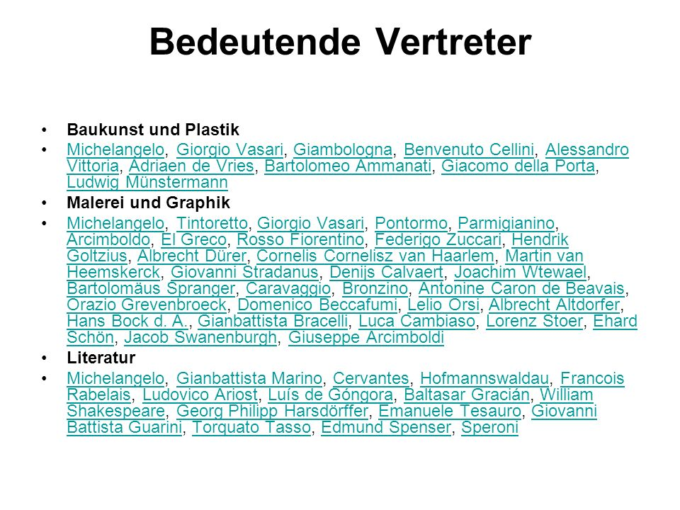 Bedeutende Vertreter Baukunst und Plastik