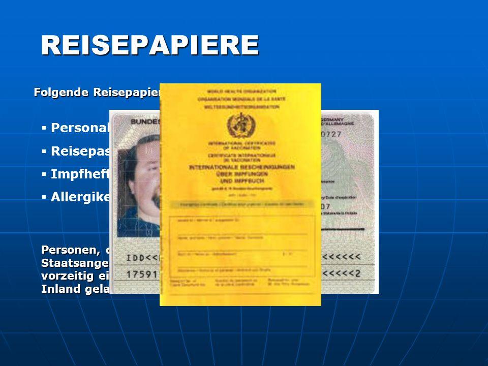 REISEPAPIERE Personalausweis Reisepass Impfheft/-buch/-schein