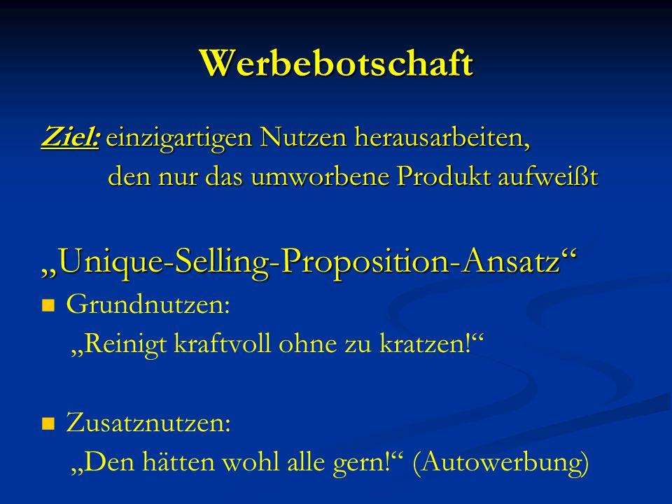 "Werbebotschaft ""Unique-Selling-Proposition-Ansatz"