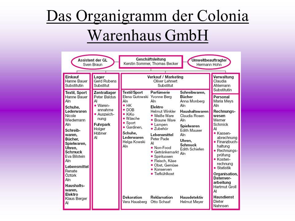 Das Organigramm der Colonia Warenhaus GmbH