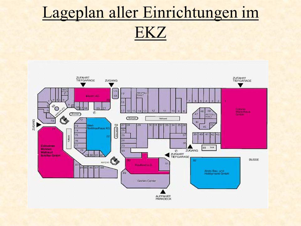 Lageplan aller Einrichtungen im EKZ