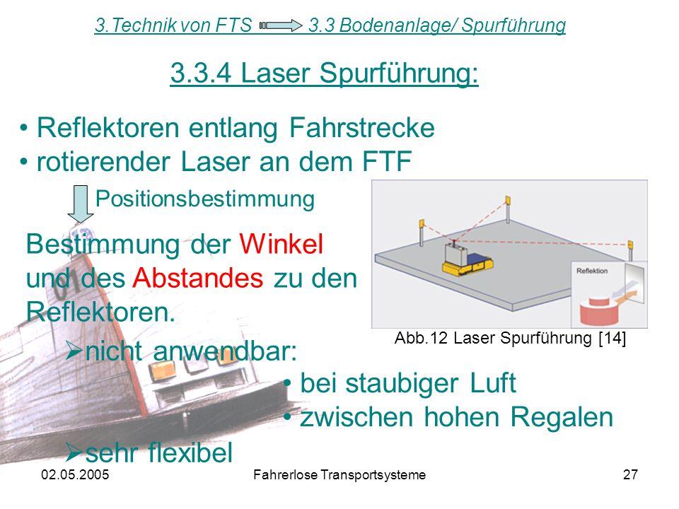 Reflektoren entlang Fahrstrecke rotierender Laser an dem FTF