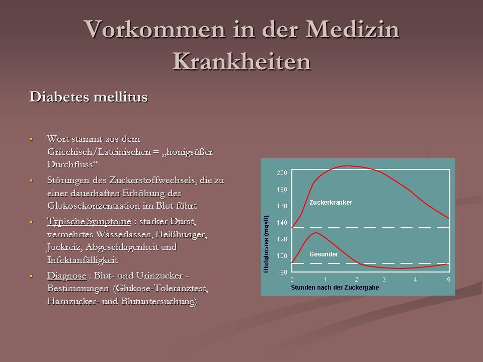Vorkommen in der Medizin Krankheiten