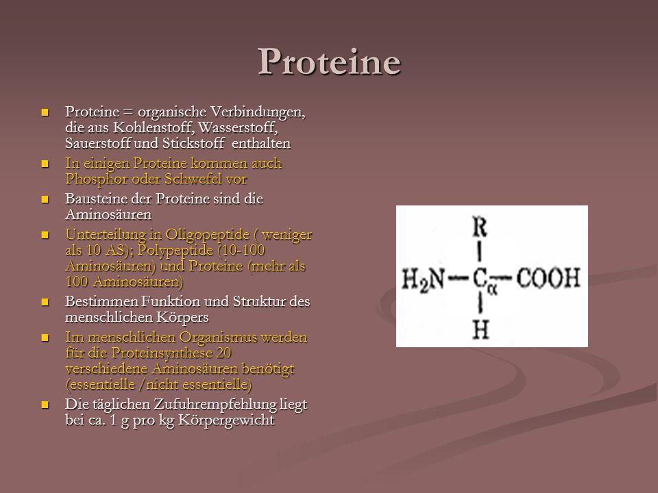 Proteine Proteine = organische Verbindungen, die aus Kohlenstoff, Wasserstoff, Sauerstoff und Stickstoff enthalten.