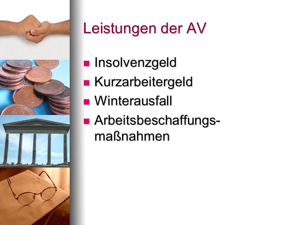 Leistungen der AV Insolvenzgeld Kurzarbeitergeld Winterausfall