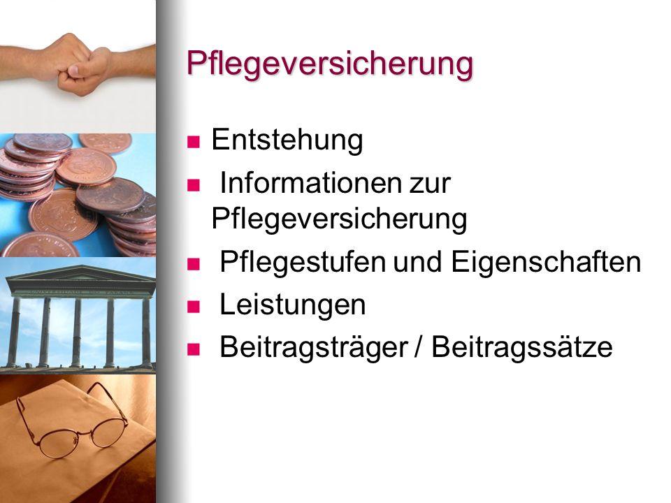 Pflegeversicherung Entstehung Informationen zur Pflegeversicherung