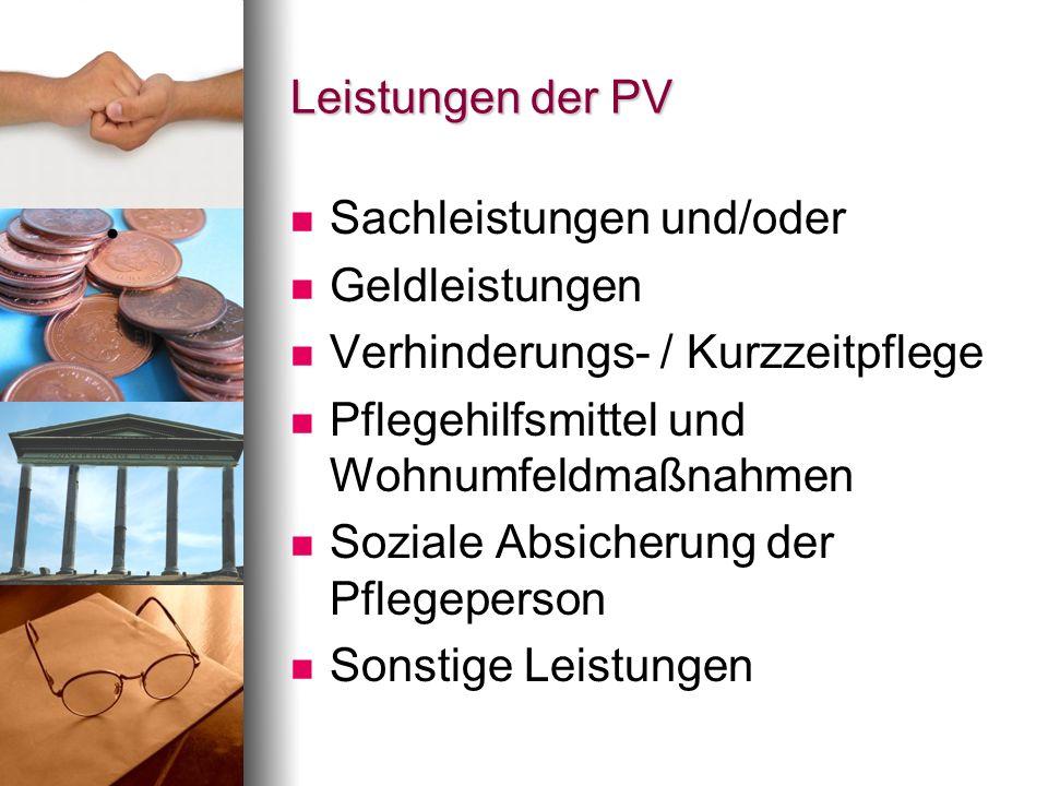 Leistungen der PV Sachleistungen und/oder. Geldleistungen. Verhinderungs- / Kurzzeitpflege. Pflegehilfsmittel und Wohnumfeldmaßnahmen.