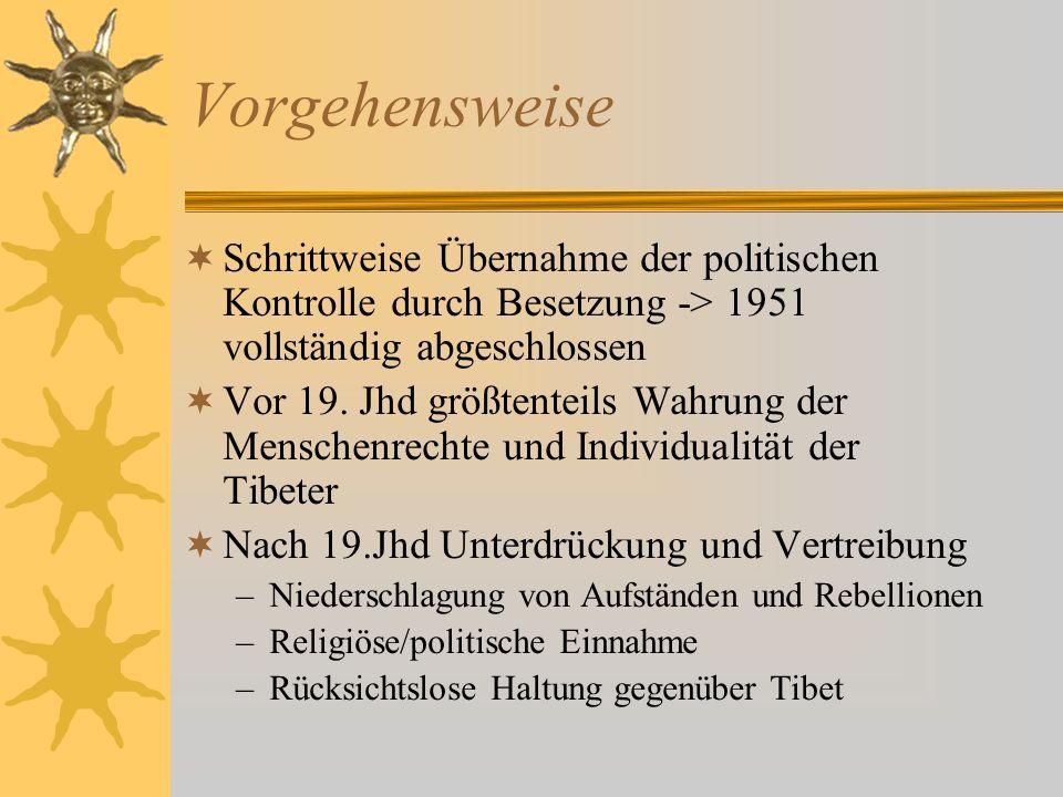 VorgehensweiseSchrittweise Übernahme der politischen Kontrolle durch Besetzung -> 1951 vollständig abgeschlossen.