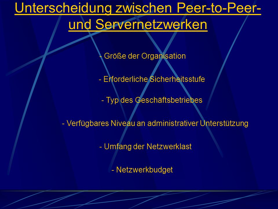Unterscheidung zwischen Peer-to-Peer- und Servernetzwerken