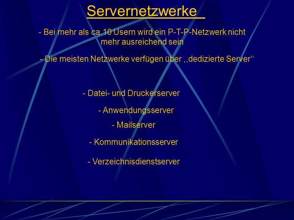 Servernetzwerke - Bei mehr als ca.10 Usern wird ein P-T-P-Netzwerk nicht mehr ausreichend sein.