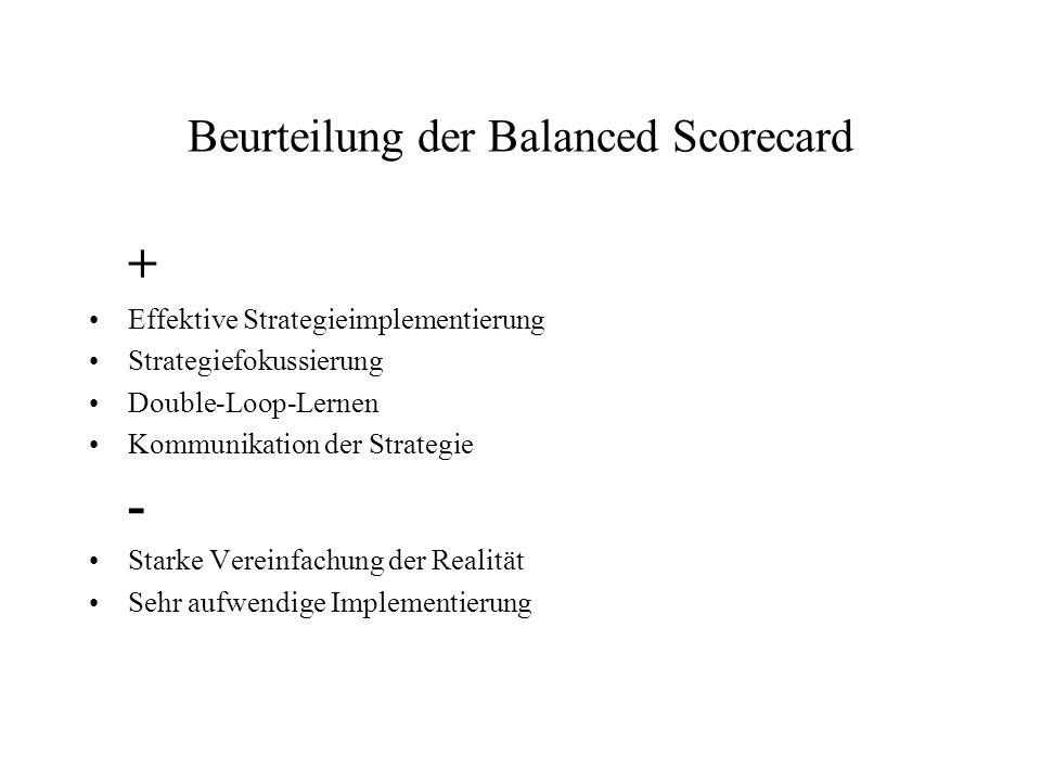 Beurteilung der Balanced Scorecard