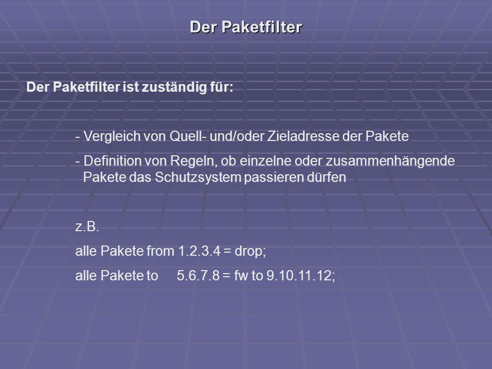 Der Paketfilter Der Paketfilter ist zuständig für: