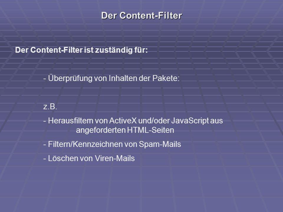 Der Content-Filter Der Content-Filter ist zuständig für: