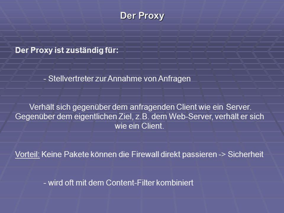 Der Proxy Der Proxy ist zuständig für: