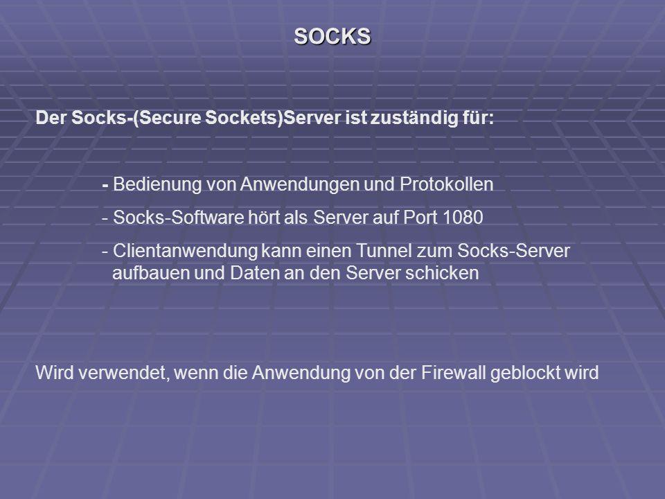 SOCKS Der Socks-(Secure Sockets)Server ist zuständig für: