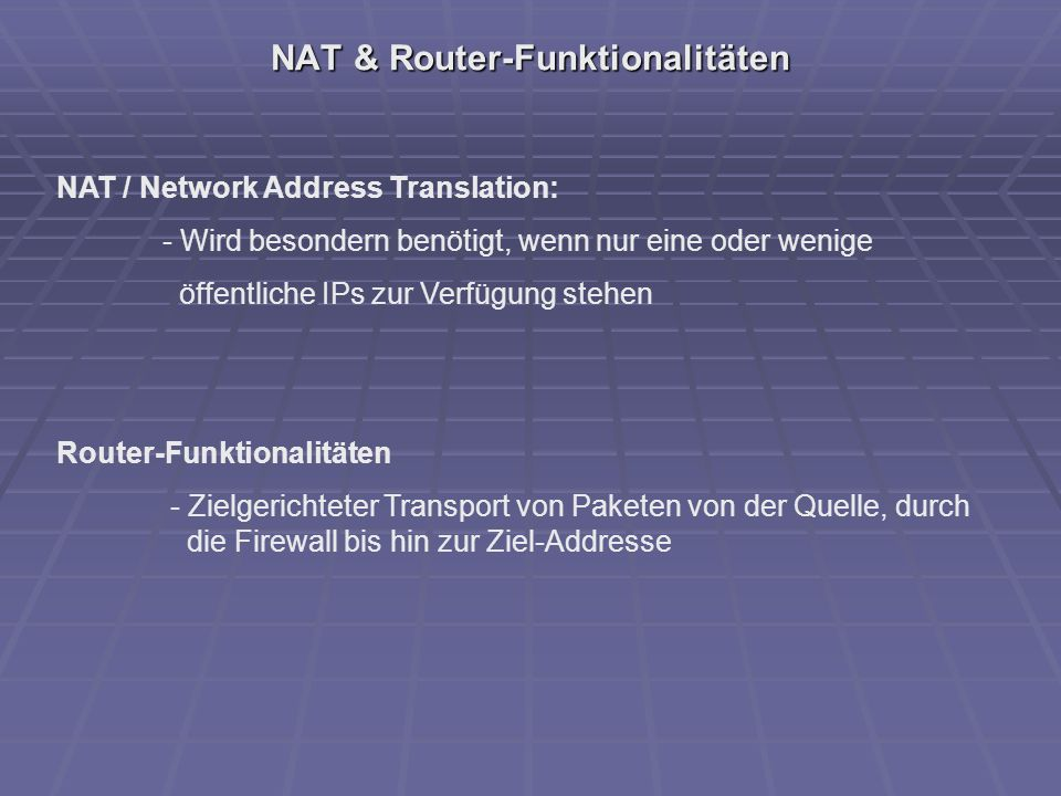 NAT & Router-Funktionalitäten