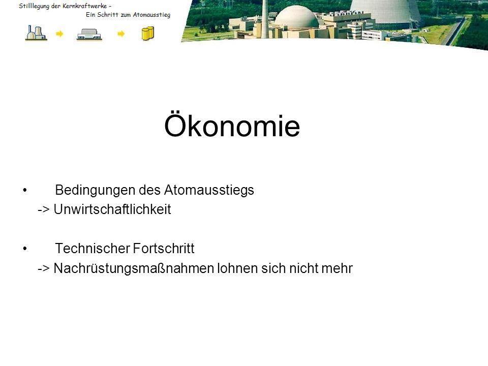 Ökonomie Bedingungen des Atomausstiegs -> Unwirtschaftlichkeit