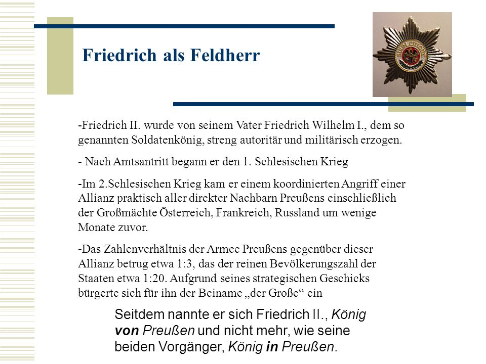 Friedrich als Feldherr