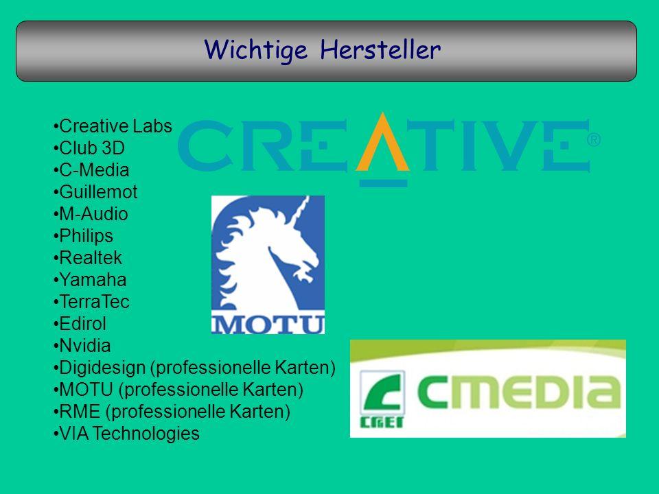 Wichtige Hersteller Creative Labs Club 3D C-Media Guillemot M-Audio